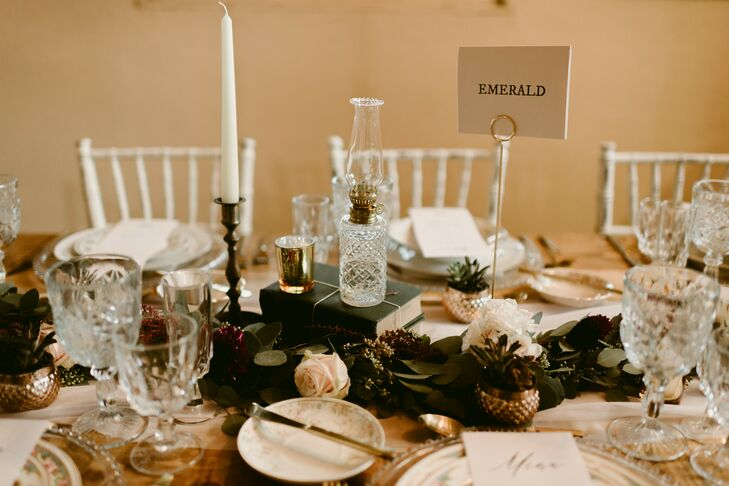 Vintage Centerpieces with Glassware and Taper Candles