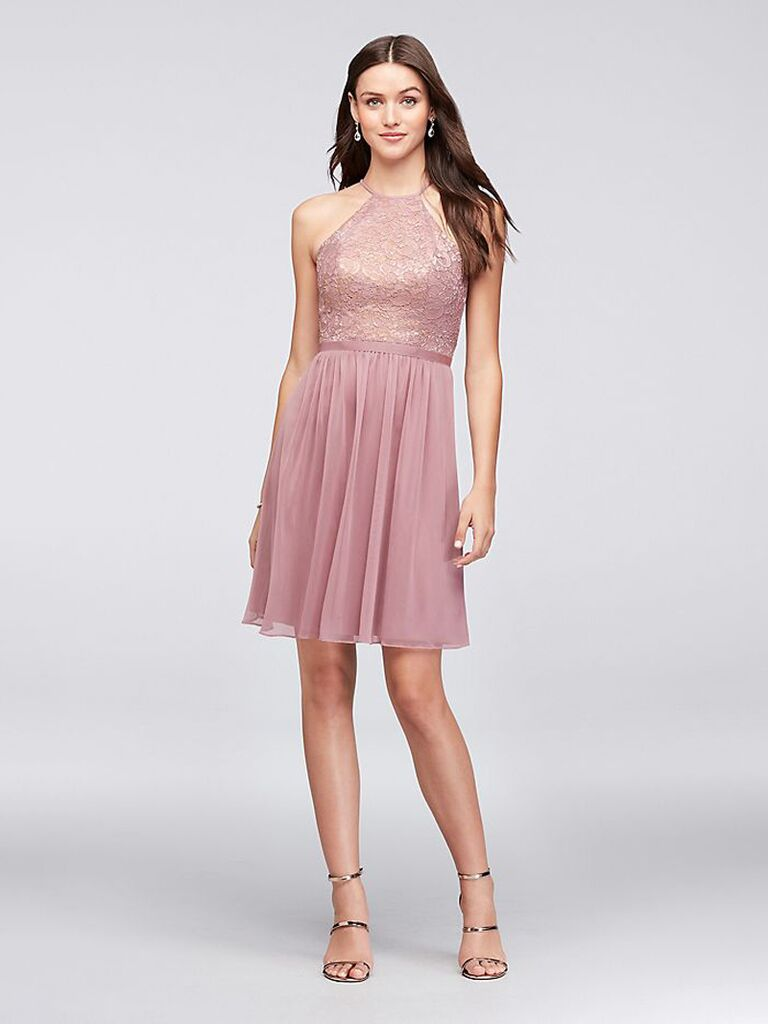 Short rose gold lace bridesmaid dress