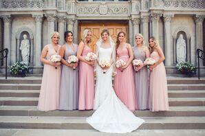 Purple and Pink Bridesmaid Dresses