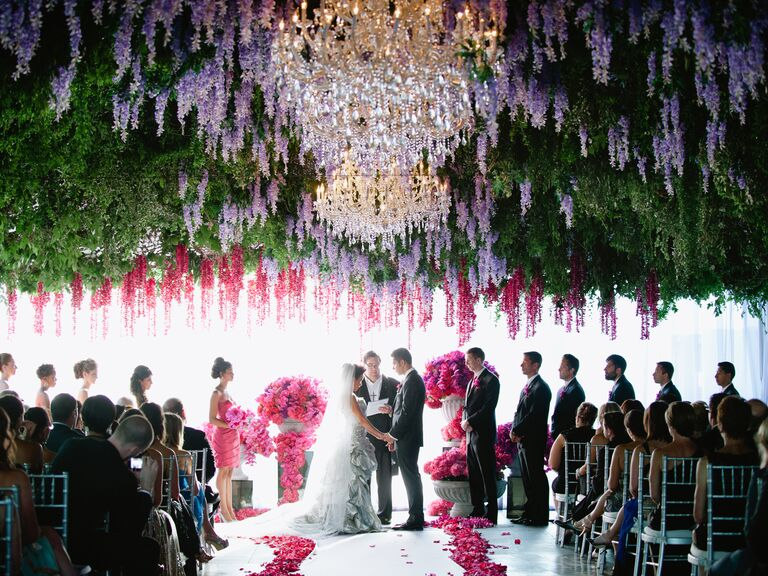 26 most insta worthy flower ideas weve ever seen hanging flowers at wedding ceremony junglespirit Gallery