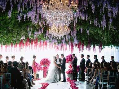 Hanging flowers at wedding ceremony
