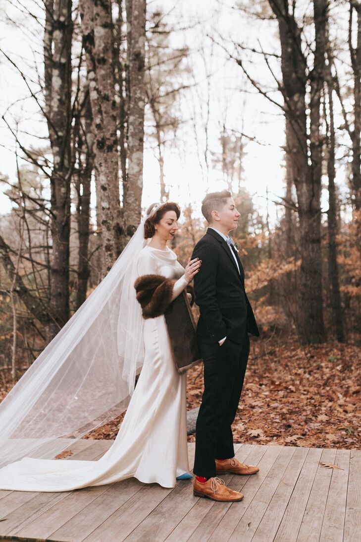 Before the day's festivities kicked into high gear, Lexie and Shane took a moment to share a first look in the forest surrounding Flanagan Farm in Buxton, Maine, allowing them to soak up the emotion of the day before joining their family and friends.