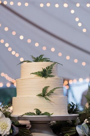 Three-Tier Fern-Accented Wedding Cake