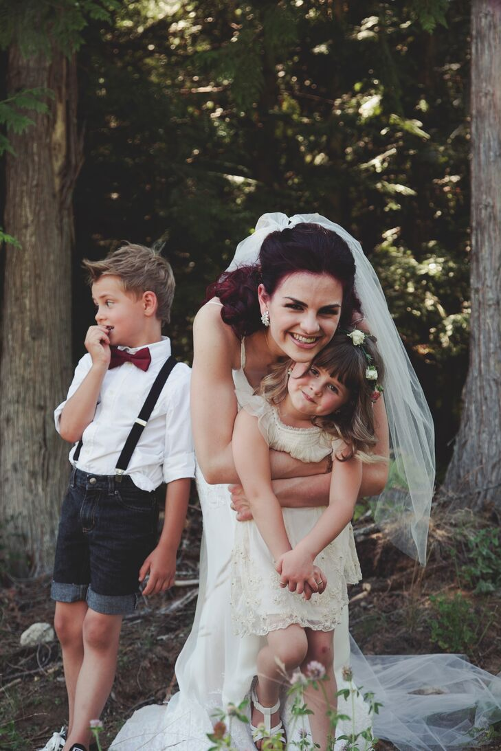 Ring Bearer in a Burgundy Bow Tie, Flower Girl in a Sweet Dress