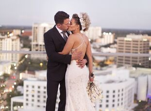 Angelica Oquendo and Jonathan Joyner pulled off an intimate, modern affair with ocean views and glam metallic touches for their wedding at the Westin