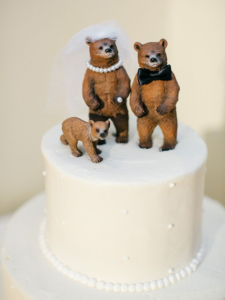 Funny animal bride and groom wedding cake toppers