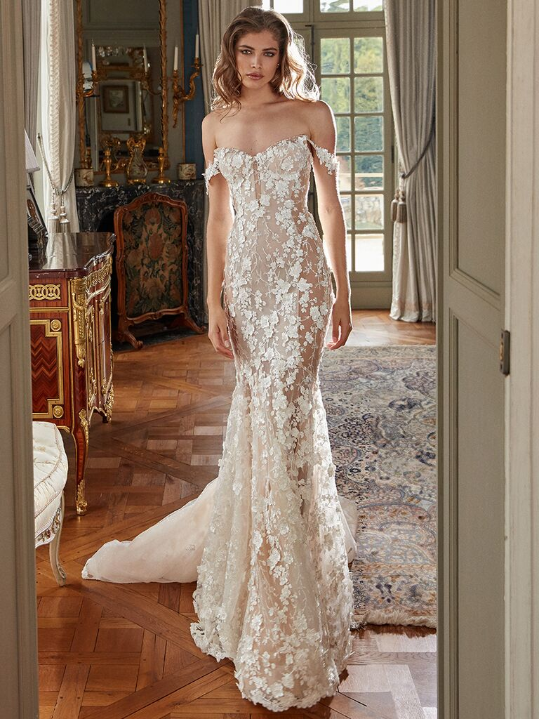 Galia Lahav off the shoulder gown lace