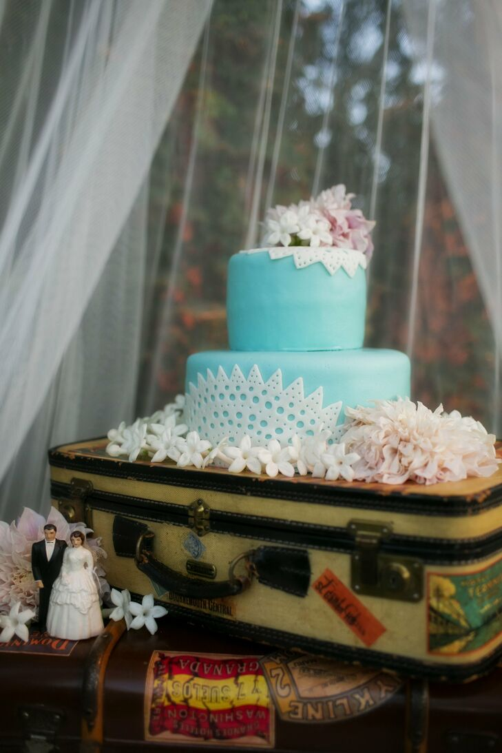 Two-Tier Turquoise Wedding Cake