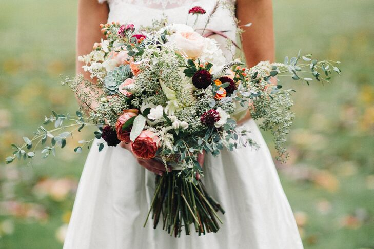 Seeded Eucalyptus, Garden Rose and Succulent Bouquet