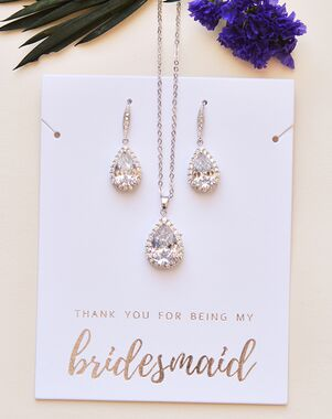 Dareth Colburn Ellie CZ Bridesmaid Jewelry Set (JS-1682-BR) Wedding Necklace photo