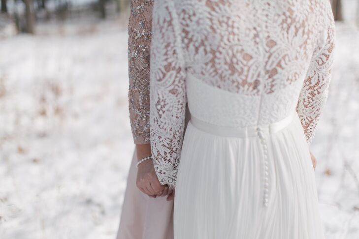 The back of Sally's Aidan Mattox gown featured intricate details, reminiscent of snowflakes.