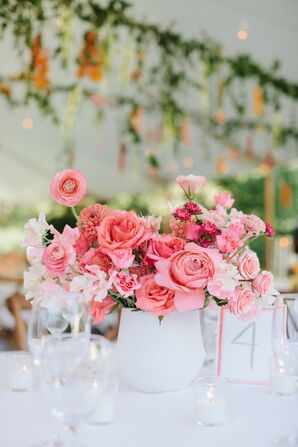 Pink Centerpiece for Wedding at Solé East in Montauk, New York