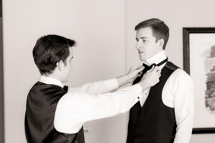 Groom Adjusting His Bow Tie