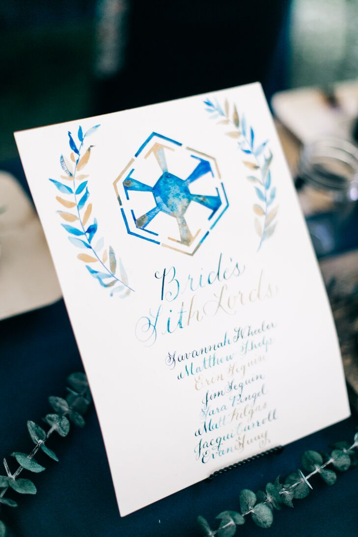 Blue Watercolor Bridal Party Sign