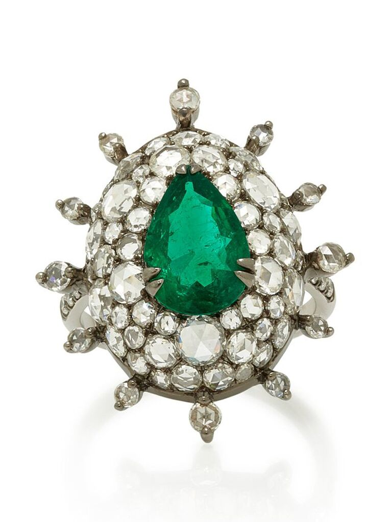 Art deco diamond and emerald engagement ring