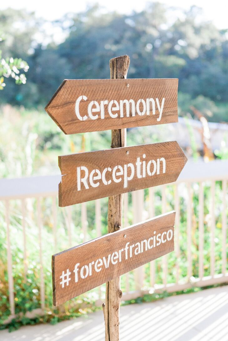Ceremony and reception wood directional sign