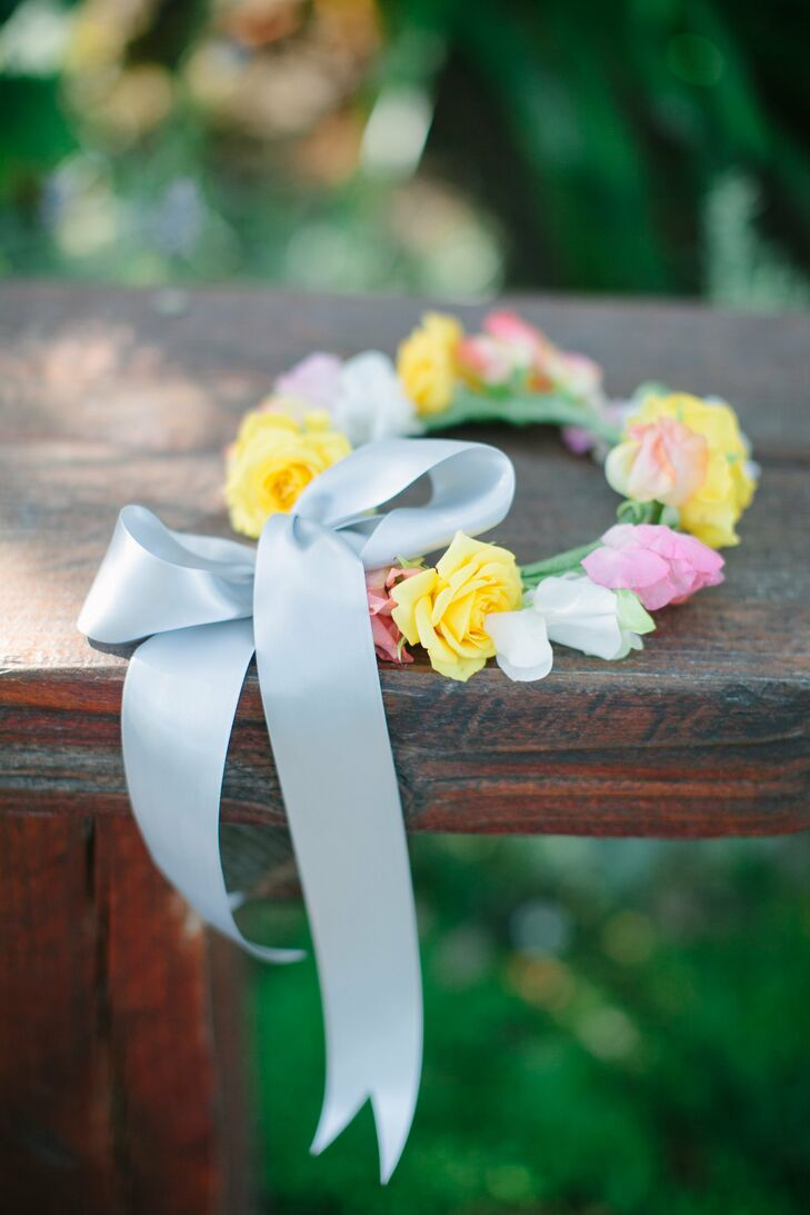 Romantic Yellow and Pink Flower Crown
