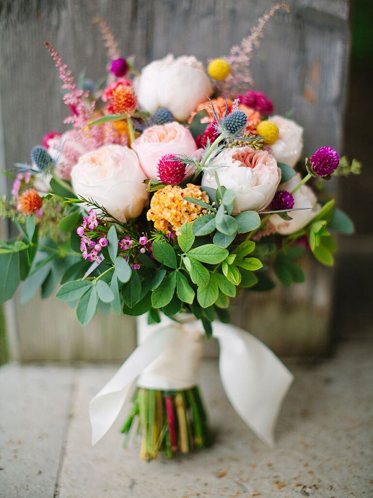 Wildflower bouquets the best wildflower bouquets from real weddings colorful wildflower wedding bouquet izmirmasajfo