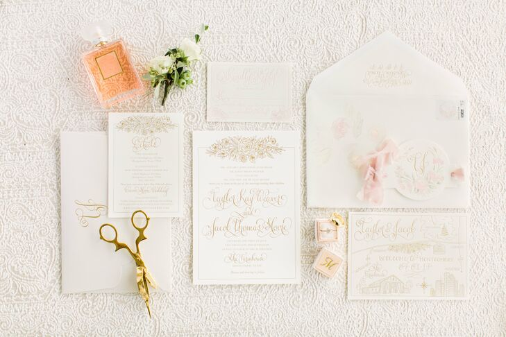 Vintage-Style White and Gold Invitation Suite