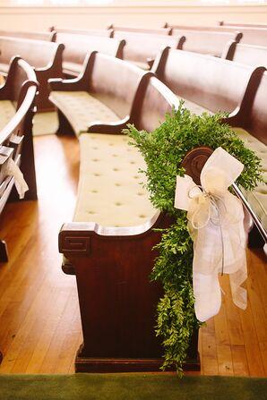 Boxwood Wreath and Ivory Ribbon Aisle Decorations