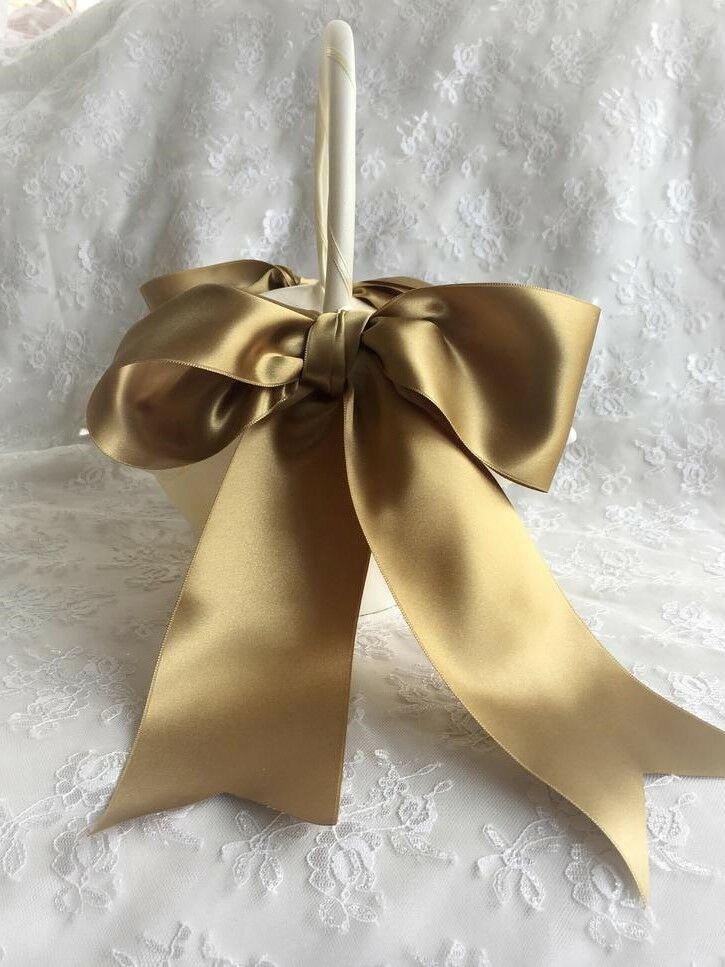 gold ribbon flower girl basket