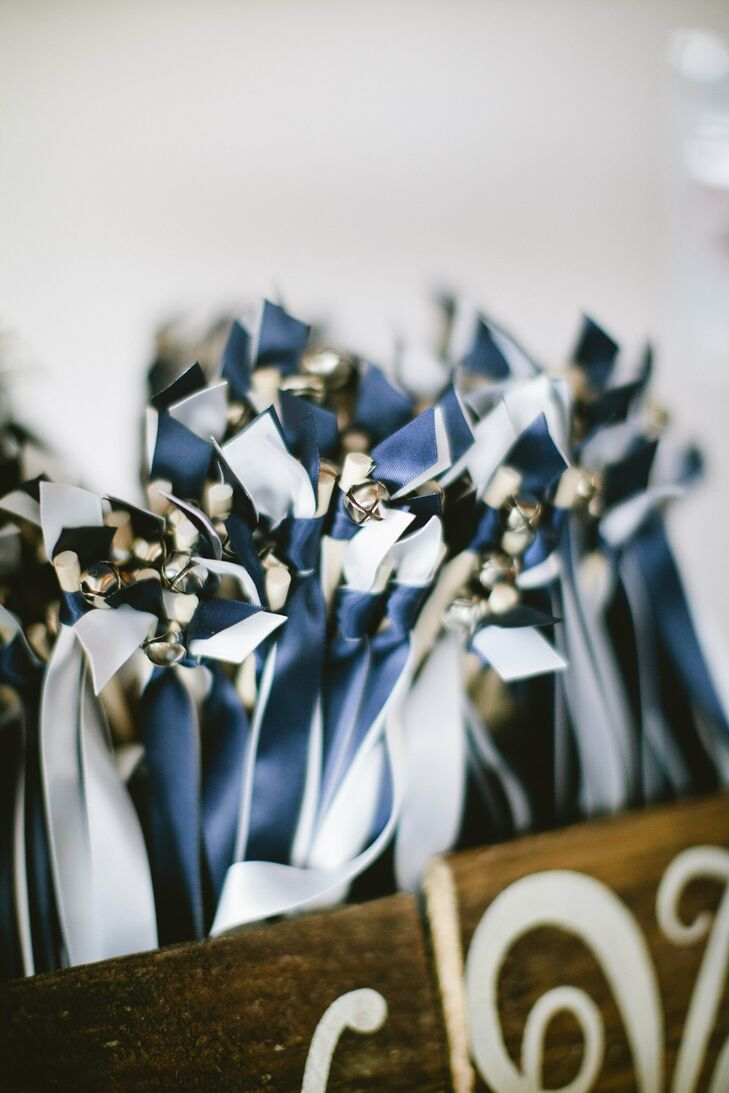 Navy and White Ribbon Wands