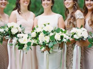 Classic White and Green Bouquets of Peonies and Roses