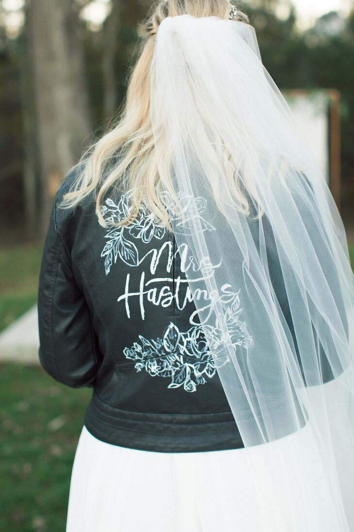 Personalized Leather Jacket and Veil
