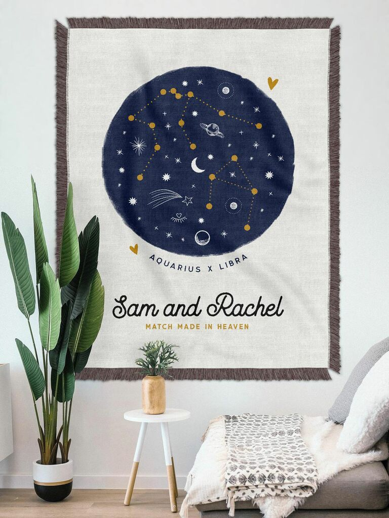 couple's horoscope print on woven throw blanket