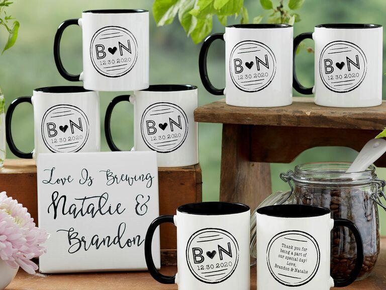winter wedding favor mugs