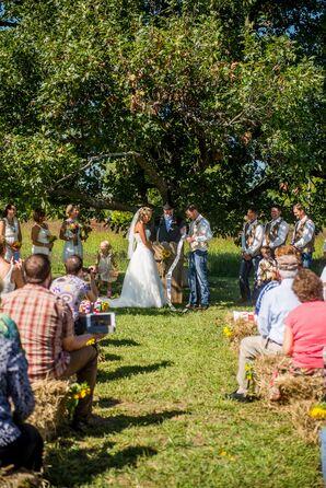 Jessica and Jeff Ceremony at Renyer's Pumpkin Farm