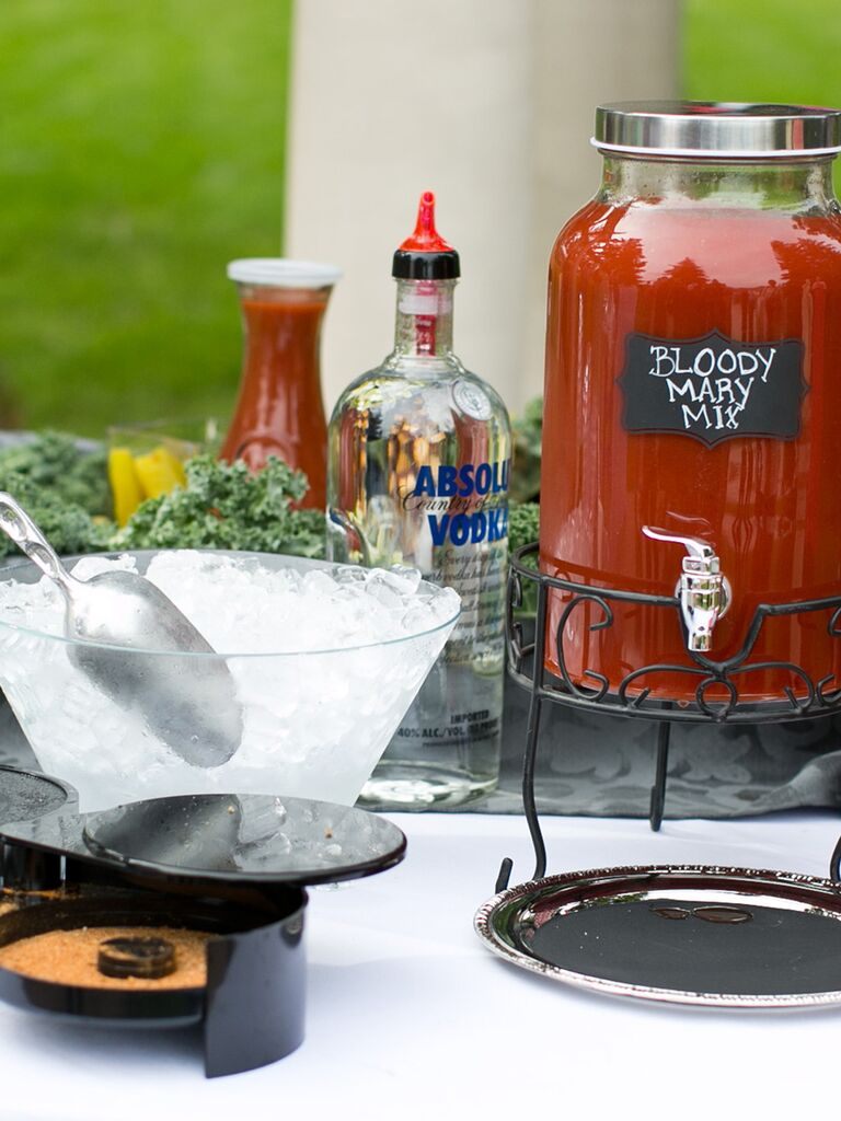 Bloody mary bar for a wedding brunch idea