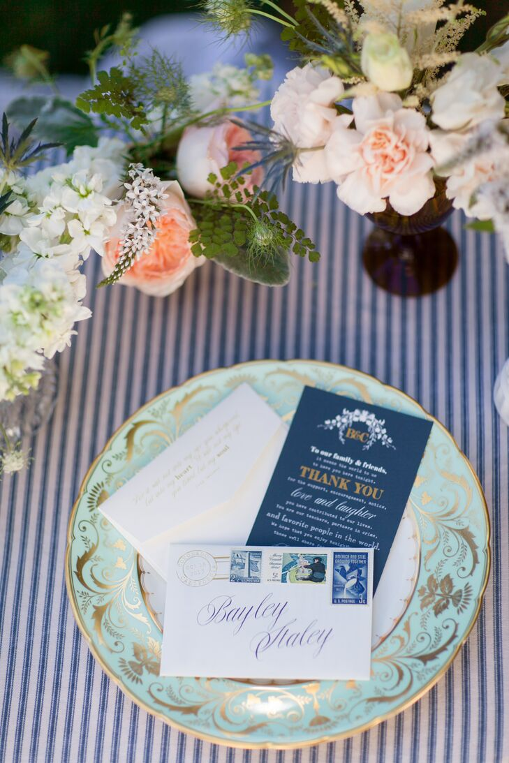 """""""Each setting had one of four vintage plate patterns and a letter,"""" Bayley says. """"The envelope had vintage stamps on it and inside was a thank you letter from Craig and I."""""""