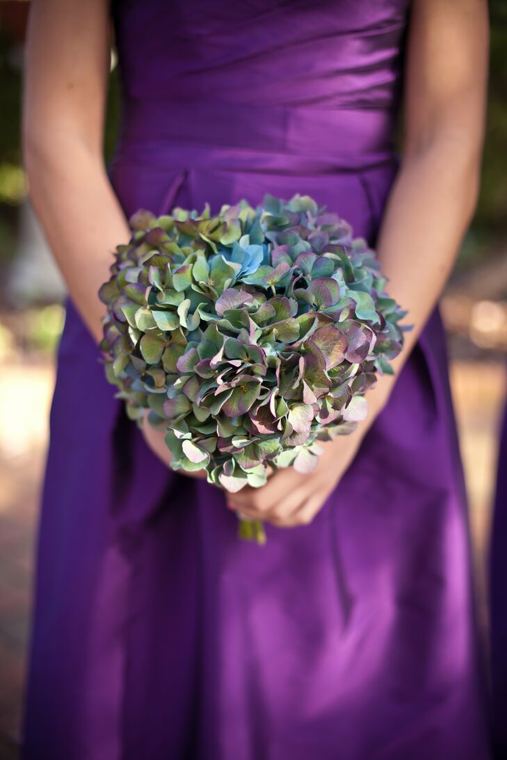 Antique Blue Hydrangea Bridesmaid Bouquet