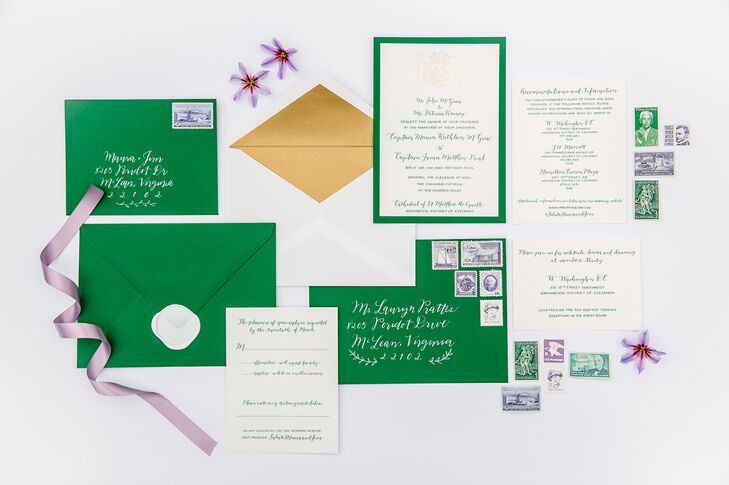 Bright green and white invitations reflected Maura and Jim's Irish heritage through the custom-made family crest designed just for them. They sent the invites with stamps that depicted military history and Washington, DC, at large.