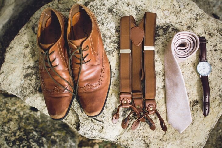 Craig's Brown Shoes, Suspenders, and White Tie