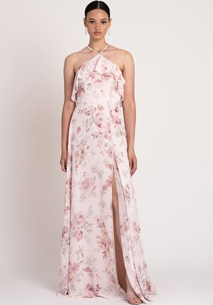 Jenny Yoo Collection (Maids) Jada Print Halter Bridesmaid Dress