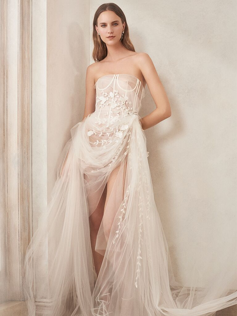 oscar de la renta strapless gown corset bodice