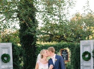 """Alexandra (Alex) Bricker (25 and a speech-language pathologist) and Andrew planned an elegant garden wedding with a sweet pineapple theme.<br><br>""""I g"""