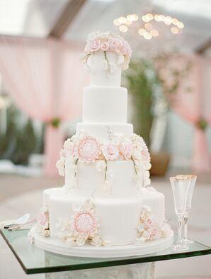Pastel Flower-Topped White Wedding Cake