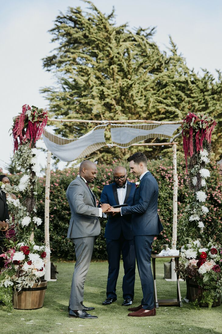 Same-Sex Couple Under Chuppah During Jewish Wedding Ceremony in California