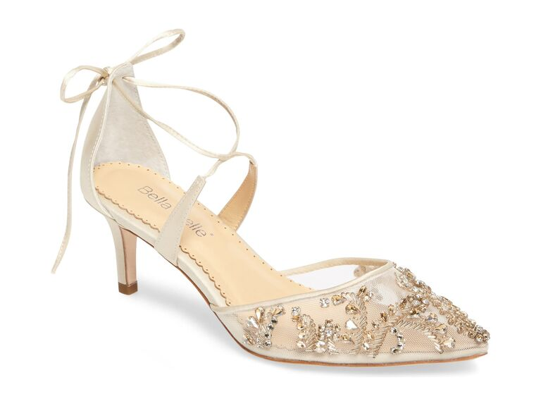 Jeweled mesh comfortable wedding heels