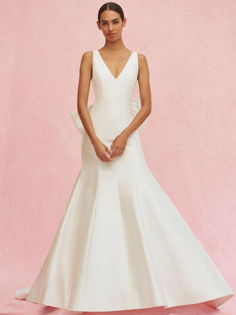 Carolina Herrera Marcella trumpet V-neck wedding dress