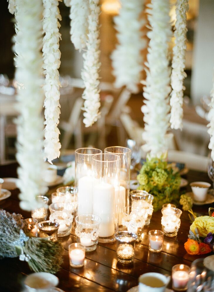 Guest tables were decorated simply with clusters of candles and fragrant dried lavender.
