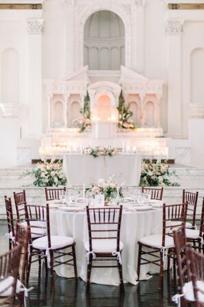 Reception Table with Chiavari Chairs at Vibiana in Los Angeles