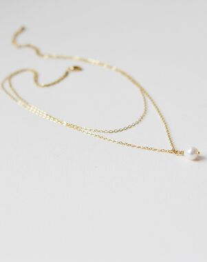 Dareth Colburn Layered Chain Pearl Drop Necklace (JN-1697) Wedding Necklace photo