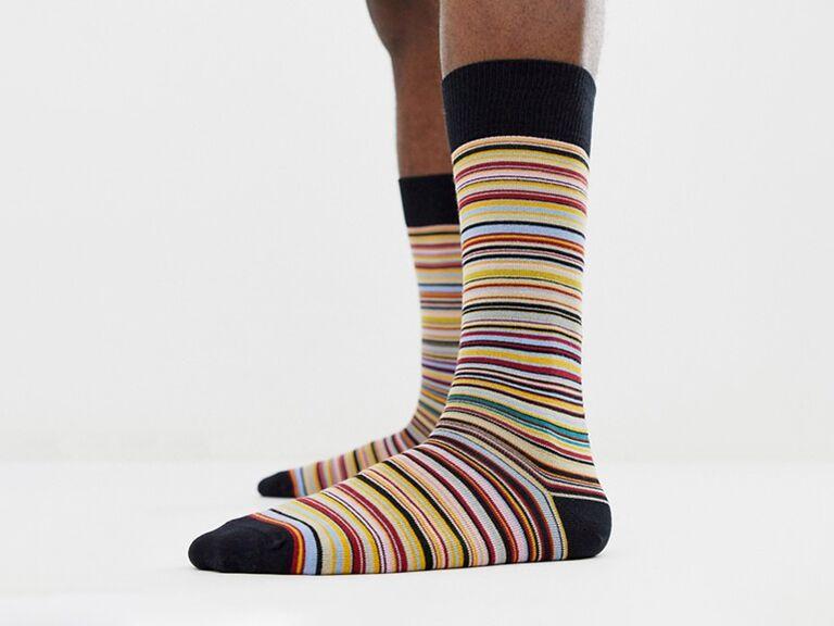 Striped groomsmen socks