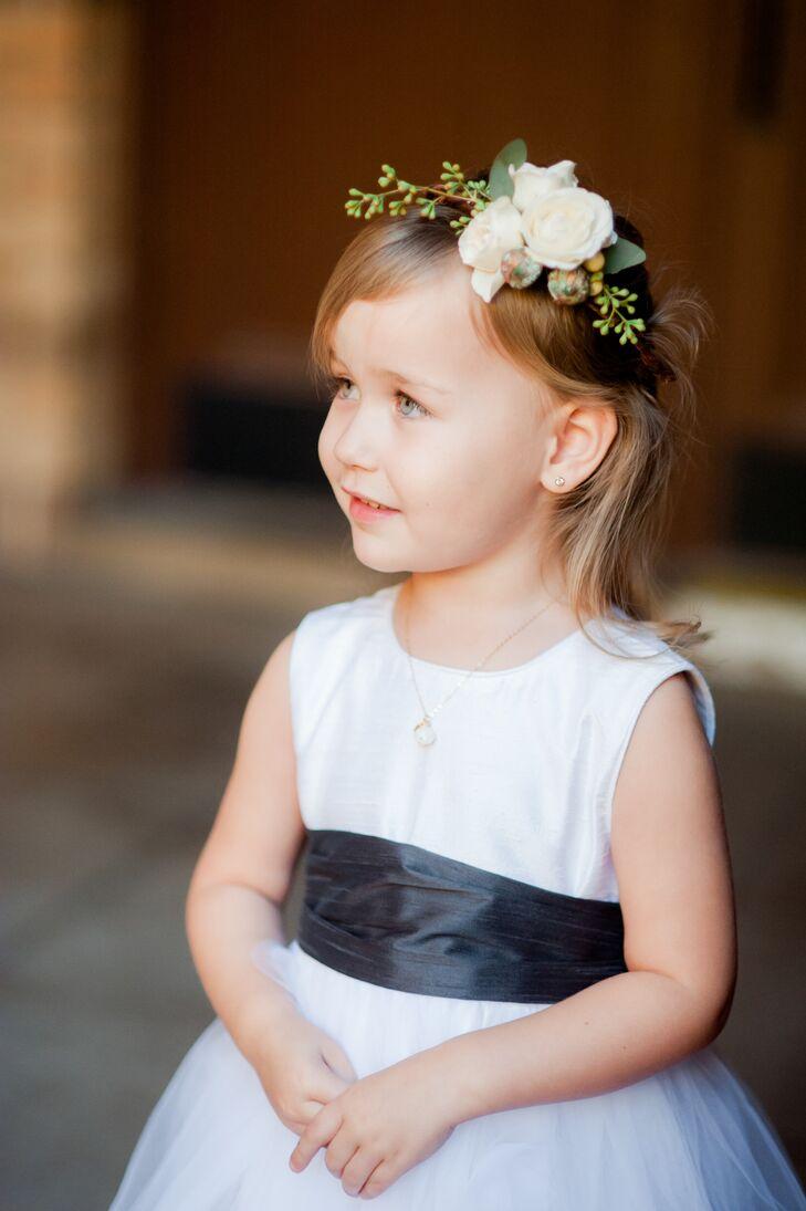 White Flower Girl Dress With Black Sash