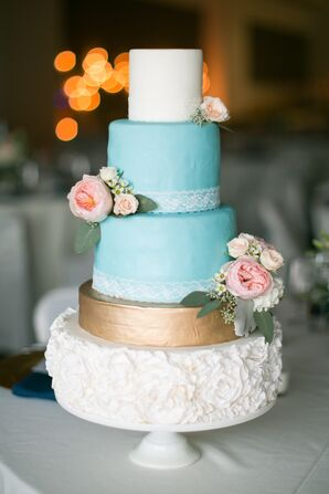 Blue, White, Gold Cake With Pink Roses