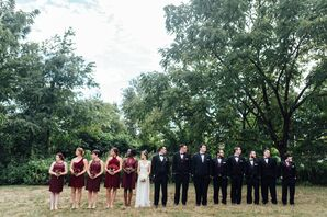 Semiformal Burgundy and Black Wedding Party